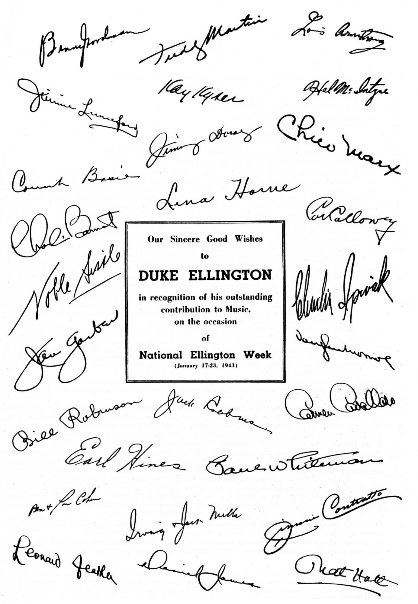 p. 526, Dédicaces de confrères pour la National Ellington Week, janvier 1943, X, Coll. Philippe Baudoin