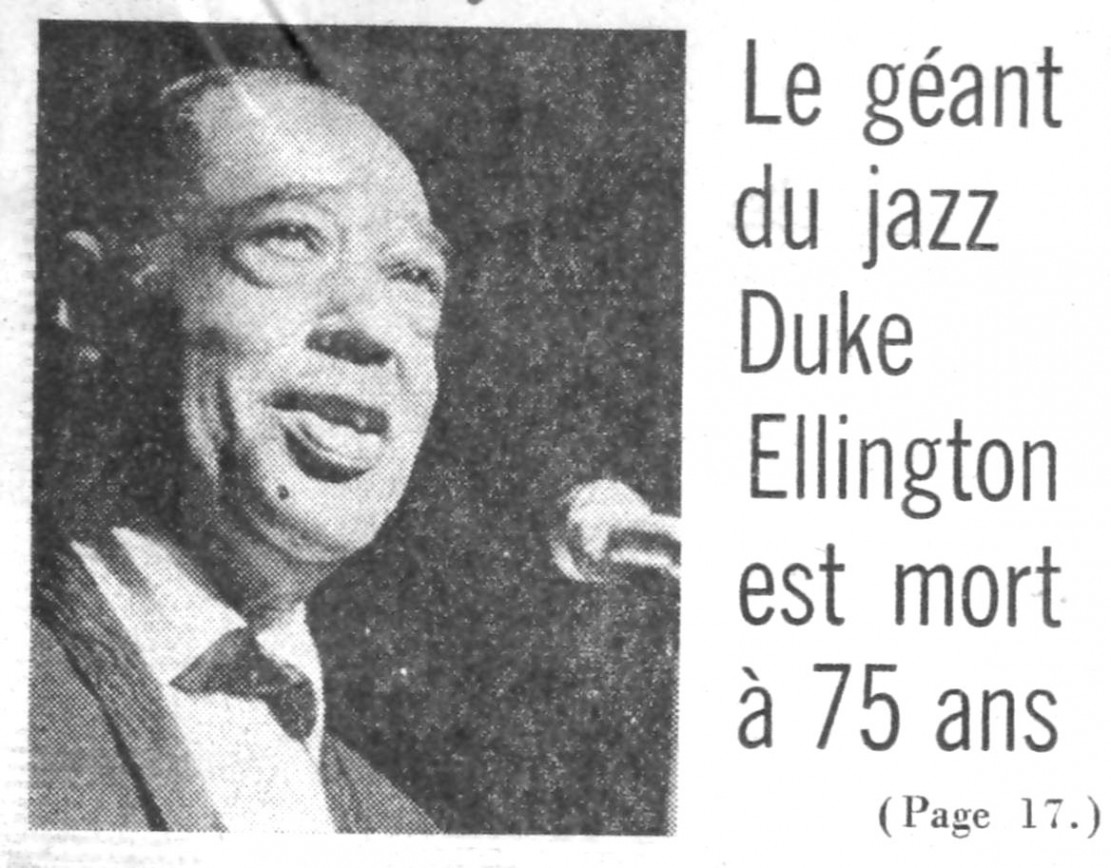 p. 565, Mort de Duke Ellington : France Soir, Coll. Christian Bonnet