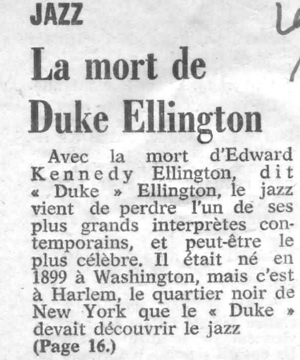 p. 565, Mort de Duke Ellington: La Croix, Coll. Christian Bonnet