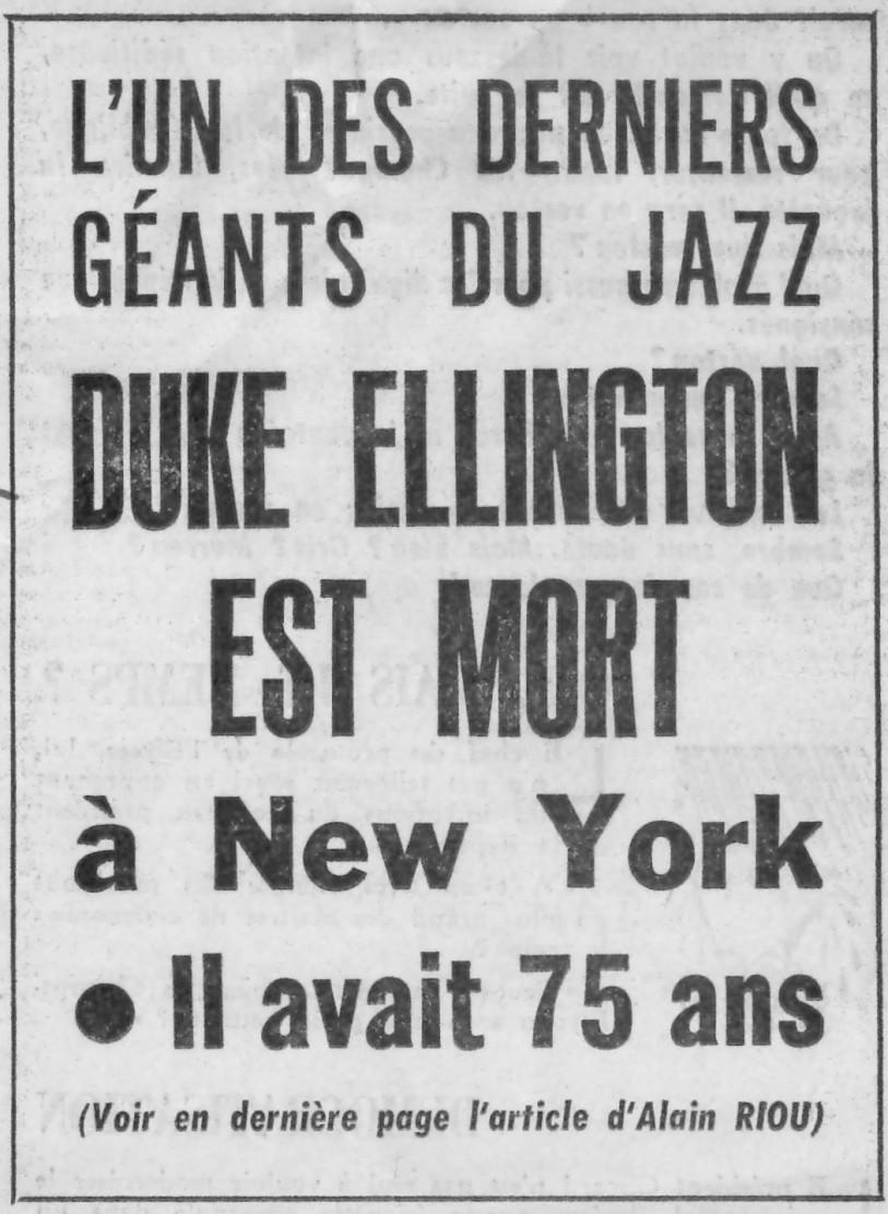 p. 565, Mort de Duke Ellington: L'aurore, Coll. Christian Bonnet