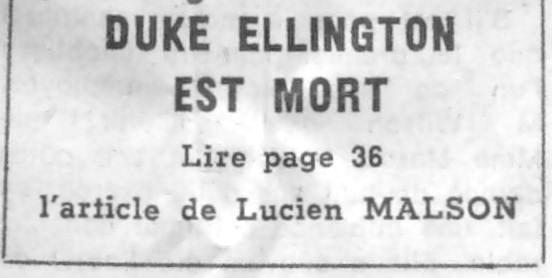 p. 565, Mort de Duke Ellington: Le Monde, Coll. Christian Bonnet