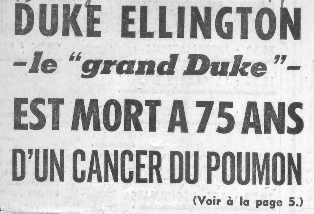 p. 565, Mort de Duke Ellington : Le Parisien, Coll. Christian Bonnet