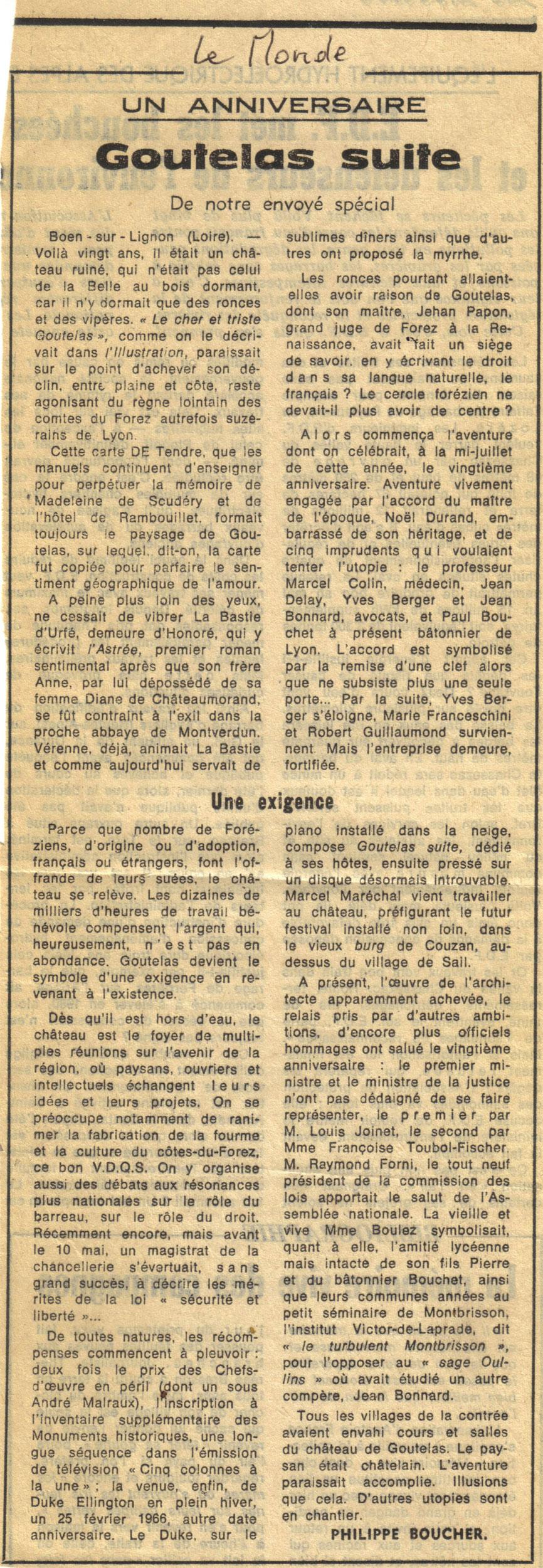 Goutelas 1966, LeMonde - coll. Claude Carrière