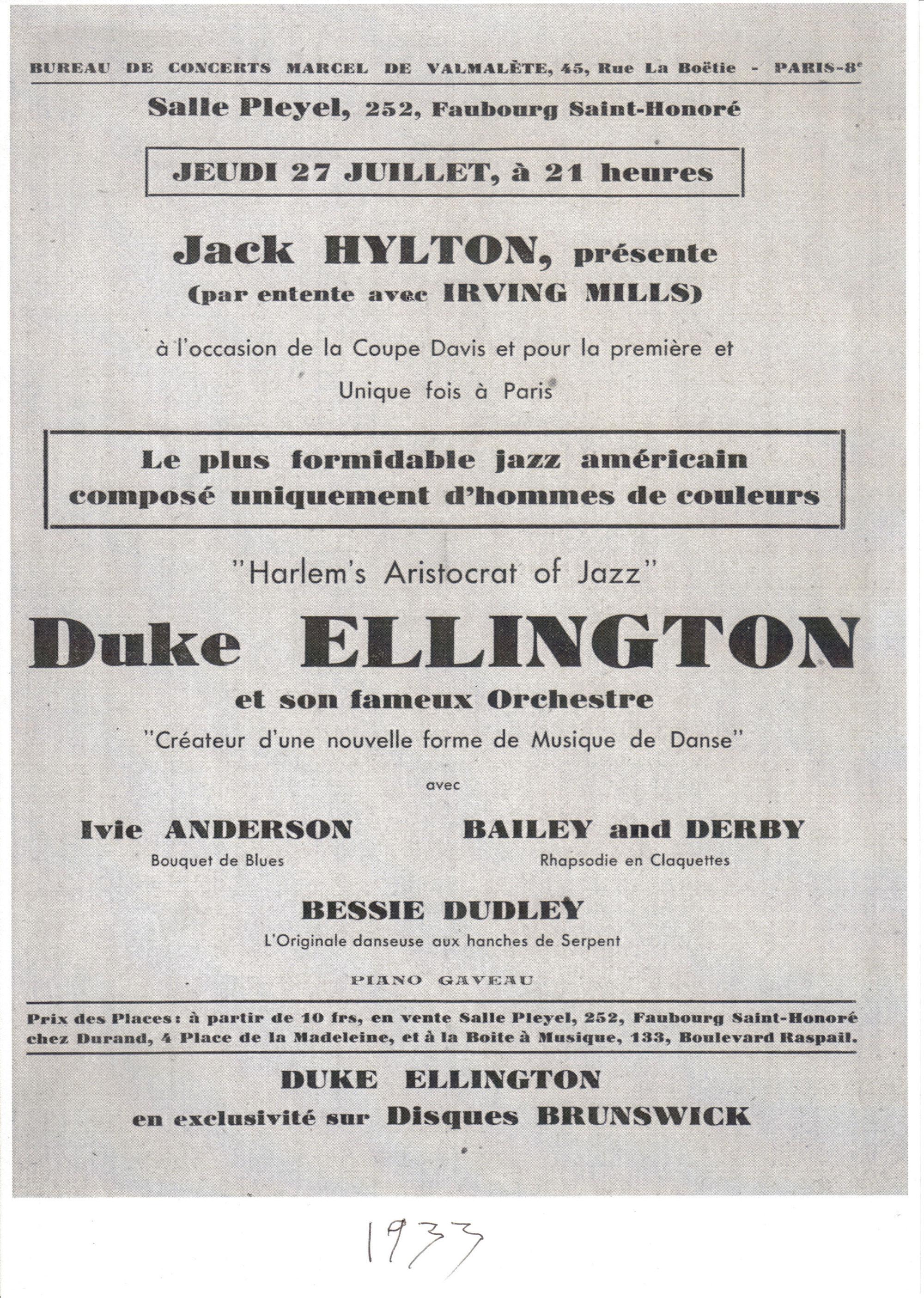 p. 106, affiche du concert à la salle Pleyel, Paris , 27 juillet 1933, X, Collection Claude Carrière